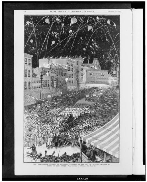 New York. Grand ovation to Governor Cleveland in the city of Buffalo, October 2d. Scene on Main Street / From sketches by C. Upham.