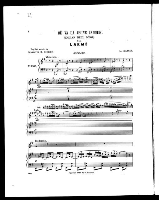 O ̮va la jeune indoue - Indian bell song from Lakm ̌