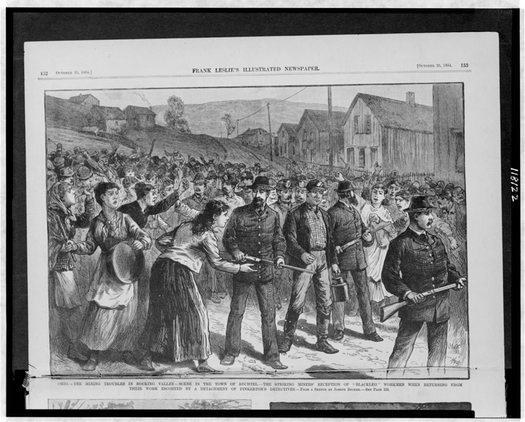 """Ohio - the mining troubles in Hocking Valley - scene in the town of Buchtel - the striking miners' reception of """"Blackleg"""" workmen when returning from their work escorted by a detachment of Pinkerton's detectives / from a sketch by Joseph Becker ; Hyde."""