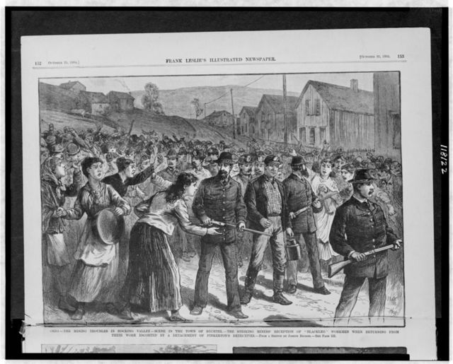 "Ohio - the mining troubles in Hocking Valley - scene in the town of Buchtel - the striking miners' reception of ""Blackleg"" workmen when returning from their work escorted by a detachment of Pinkerton's detectives / from a sketch by Joseph Becker ; Hyde."