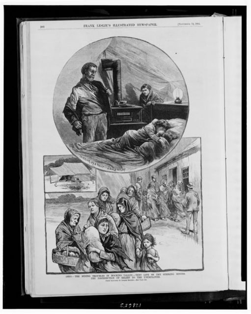 Ohio - the mining troubles in Hocking Valley - tent life of the striking miners--The distribution of relief to the unemployed / from sketches by Joseph Becker.