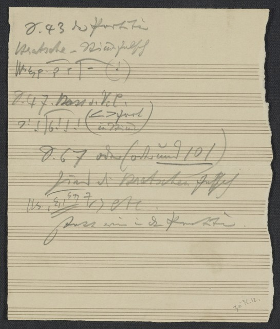 [Page of correcting for symphony #3, 1884? to Keller, music editor]