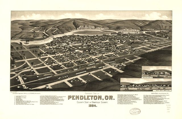 Panoramic view of Pendleton, Or., county seat of Umatilla County 1884.