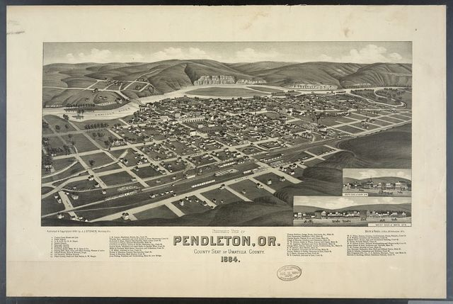 Panoramic view of Pendleton, Or. County seat of Umatilla County. 1884