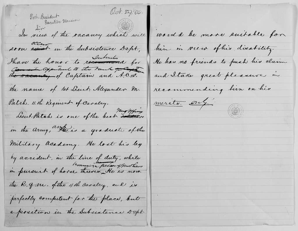Philip Henry Sheridan Papers: General Correspondence, 1853-1888; 1884; Oct