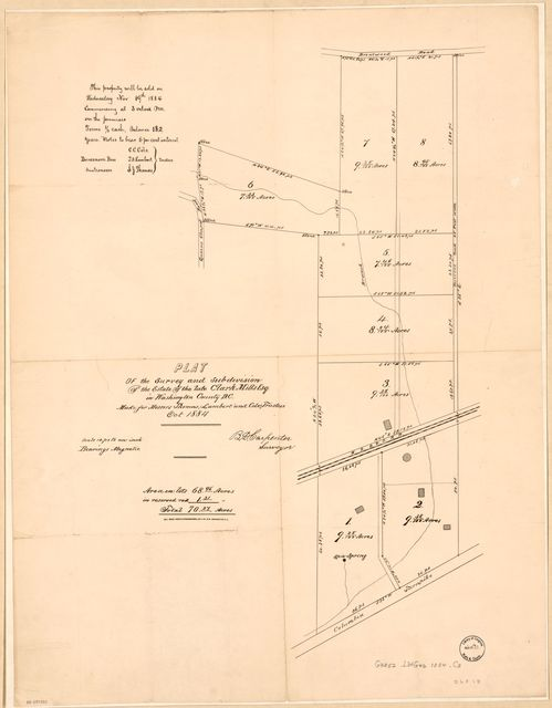Plat of the survey and subdivision of the estate of the late Clark Mills Esq. in Washington County D.C. : made for Messers. [sic] Thomas, Lambert, and Cole, trustees, Oct. 1884 : [part of Langdon and Woodridge, N.E. Washington D.C.] /