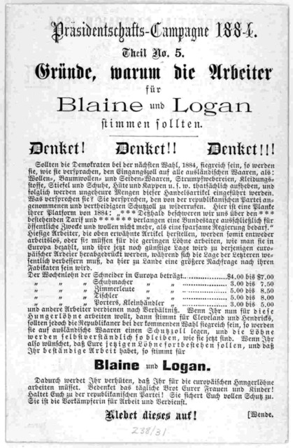 Presidential campaign, 1884. Tract No. 5. Reasons why workingmen should vote for Blaine & Logan. Think! Think!! Think!!! ... [n. p. 1884].