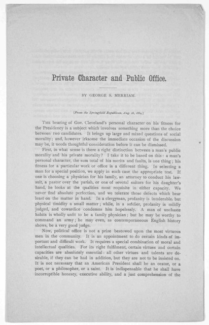 Private character and public office by George S. Merrian. From the Springfield Republican, Aug. 26, 1884.
