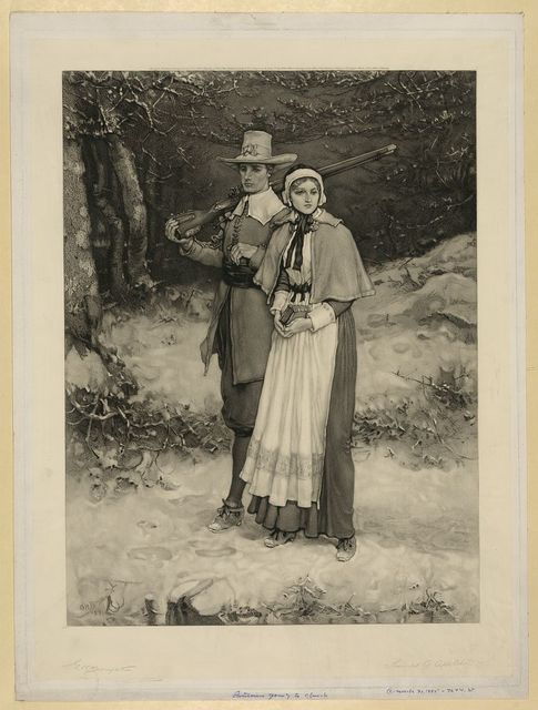 [Puritans going to church] / G.H. Boughton '84.