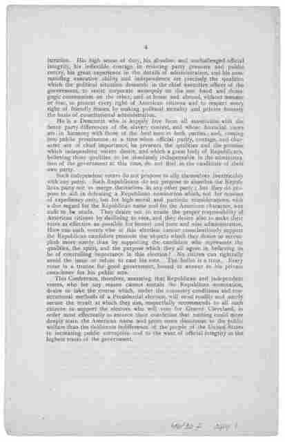 Republican and Independent head-quarters, 166 Washington street, Boston, July 24, 1884. My dear Sir: -We enclose with this a copy of the address adopted by the National Conference of Republicans and Independents, held at New York, July 22 ... Da