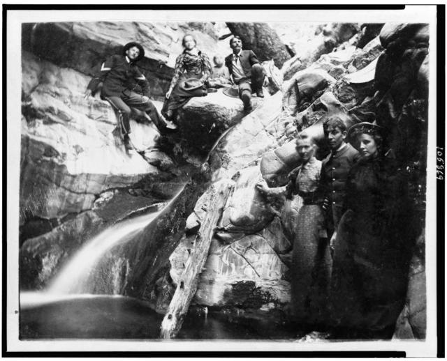 [Soldiers with women in gorge, Fort Verde, Arizona]