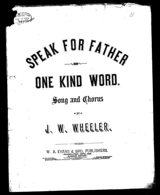 Speak for father one kind word