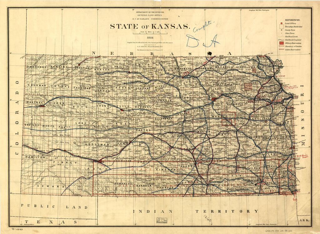 State of Kansas, 1884; compiled from the official records of the General Land Office and other sources under supervision of G.P. Strum, Principal Draughtsman, photo lith & print by Julius Bien & Co. N.Y. 1884.