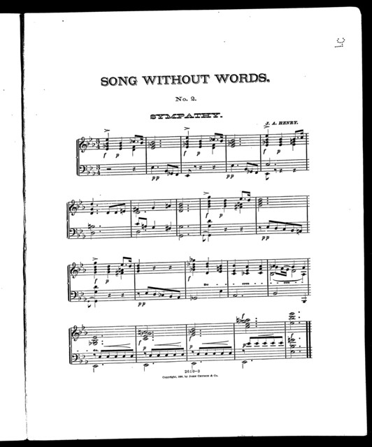 Sympathy, no. 2 [from] Song without words