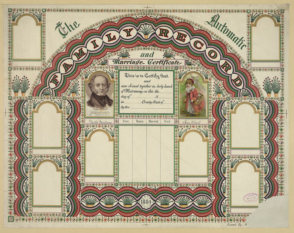 The automatic family record and marriage certificate / penwork by [...].