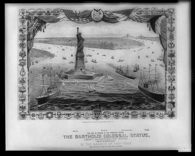 The gift of France to the American people, the Bartholdi colossal statue, Liberty enlightening the world / Shugg Brothers ; R. Schwarz, Des.