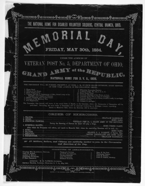 The National Home for Disabled Volunteer Soldiers. Central Branch, Ohio. Memorial Day, Friday, May 30th, 1884. Under the auspices of Veteran Post No. 5, Department of Ohio, Grand Army of the Republic, National Home for D. V. S., Ohio ... [Centra