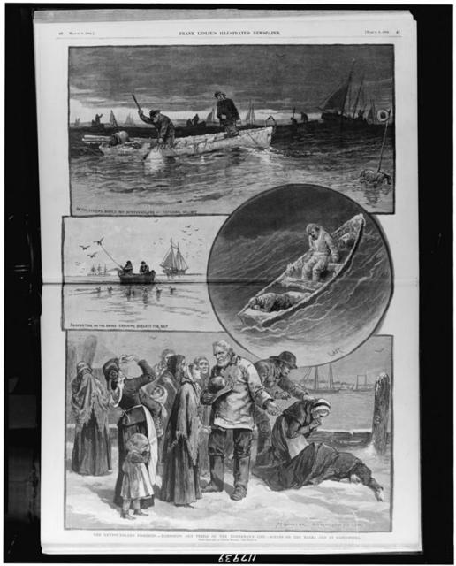 The Newfoundland fisheries - hardships and perils of the fisherman's life - scenes on the banks and at Gloucester / from sketches by Joseph Becker.