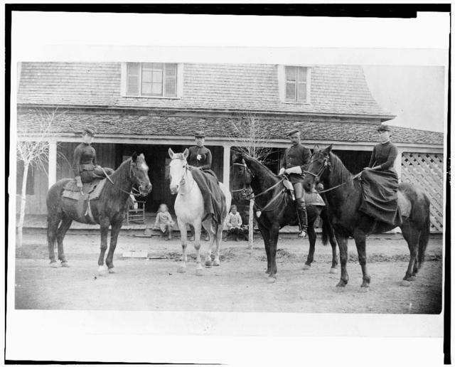 [Three women and a man, all in uniform and on horseback, Fort Verde, Arizona]