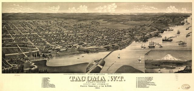 View of the city of Tacoma, W.T., Puget-Sound, county seat of Pierce Cty. 1884.