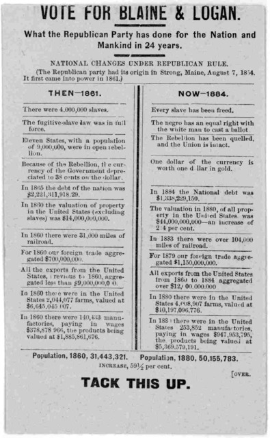 Vote for Blaine & Logan. What the Republican party has done for the nation and mankind in 24 years ... [n. p. 1884].