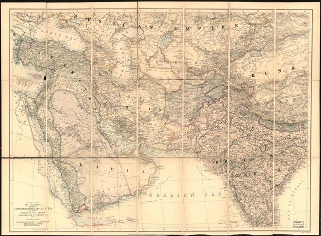 A map of the countries between Constantinople and Calcutta : including Turkey in Asia, Persia, Afghanistan & Turkestan.