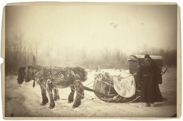 A Siberian posting sledge on a cold morning, with GK [i.e., George Kennan] standing at the right