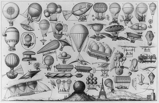 [Balloons, airships, and other flying machines designed with some form of propulsion] / E. Morieu, sc.