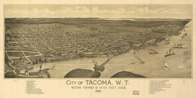 City of Tacoma, W.T., western terminus of N.P.R.R. Puget Sound 1885.