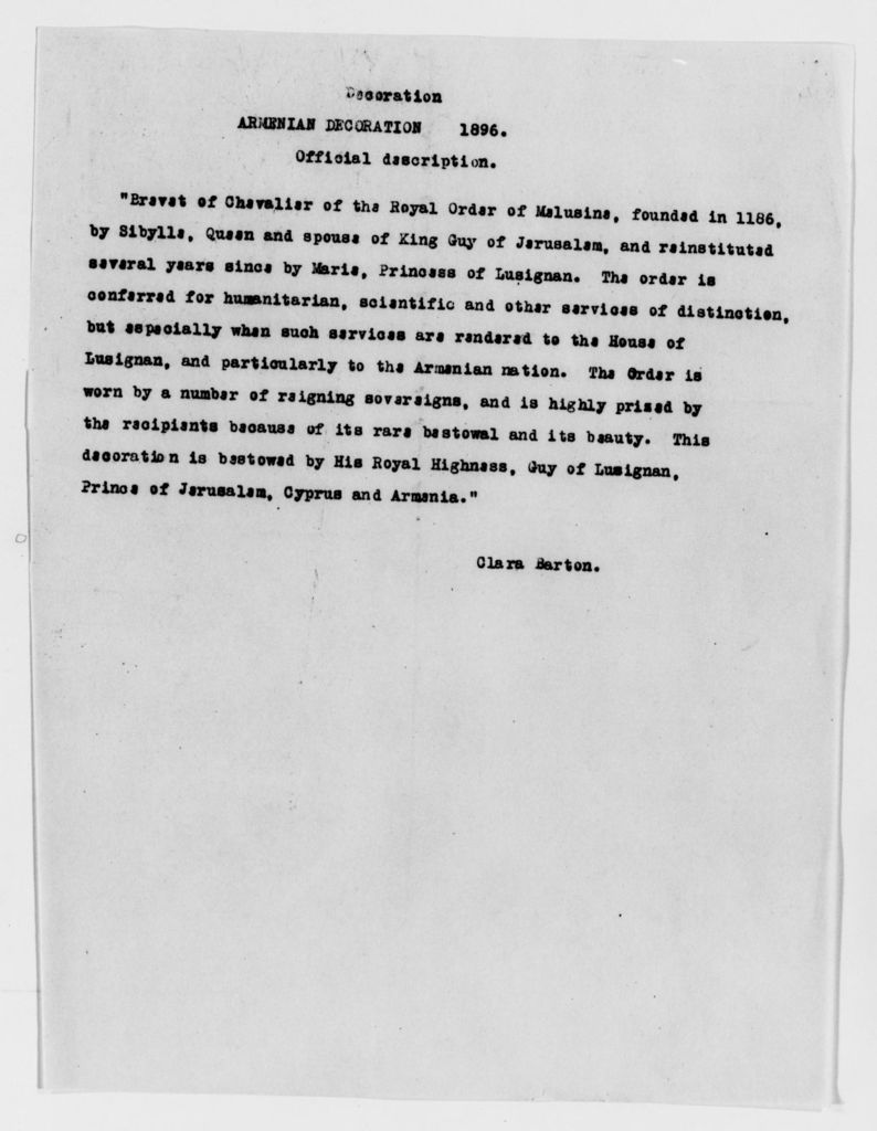 Clara Barton Papers: Miscellany, 1856-1957; Awards and decorations, 1885-1898, undated