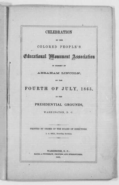 Colored People's Educational Monument Association, Washington, D.C., 1865