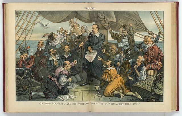 """Columbus Cleveland and his mutinous crew - """"This ship shall not turn back!"""" / Gillam."""