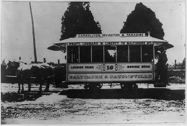 Double horse car used in Baltimore in 1885