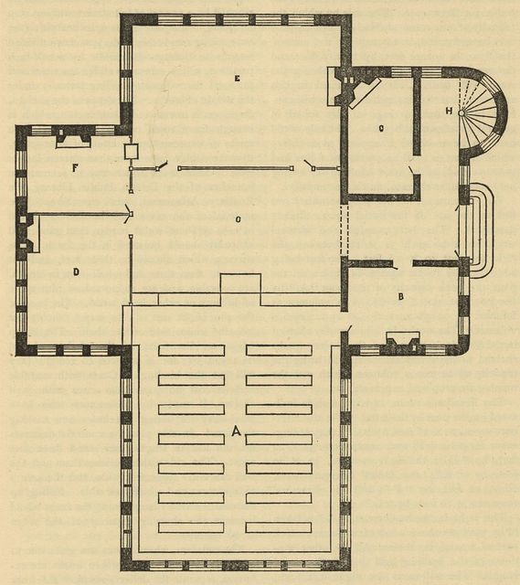 [Floor plan for a small library]