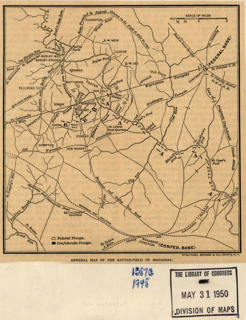 General map of the battle-field of Manassas. [July 16-21, 1861]