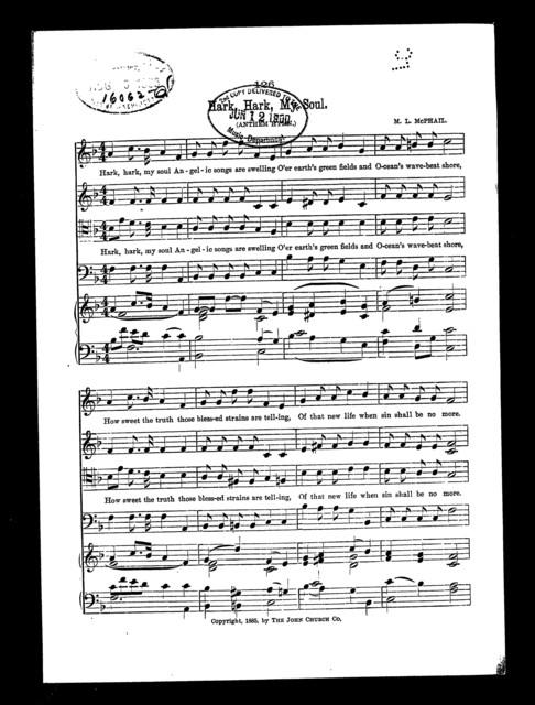 Hark, hark, my soul; Hymn anthem