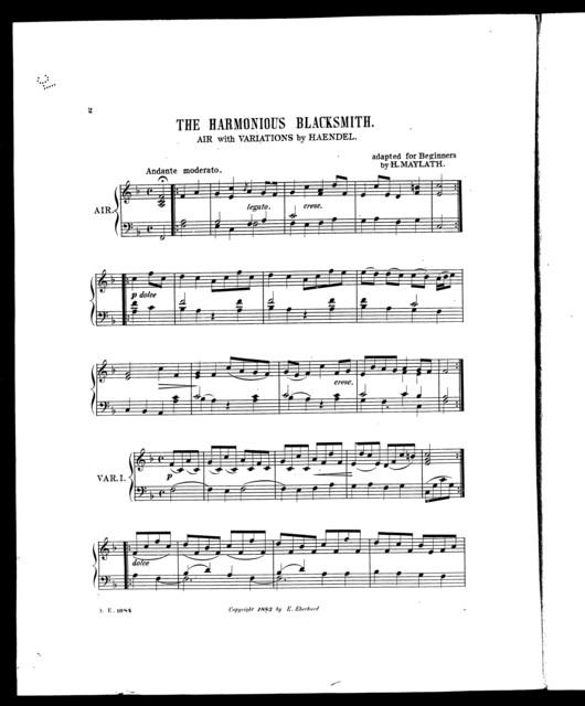 Harmonious blacksmith, The; Air with variations