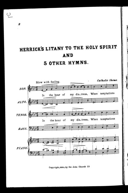 Herrick's litany to the holy spirit and 5 other hymns