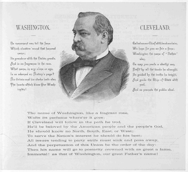 Inauguration souvenir of Cleveland and Hendricks, at Washington, D. C. on Wednesday March 4, 1885. Written by J. E. Shaw. Compliments Grand Union Hotel opposite Grand Central depot. New York City. N. Y.