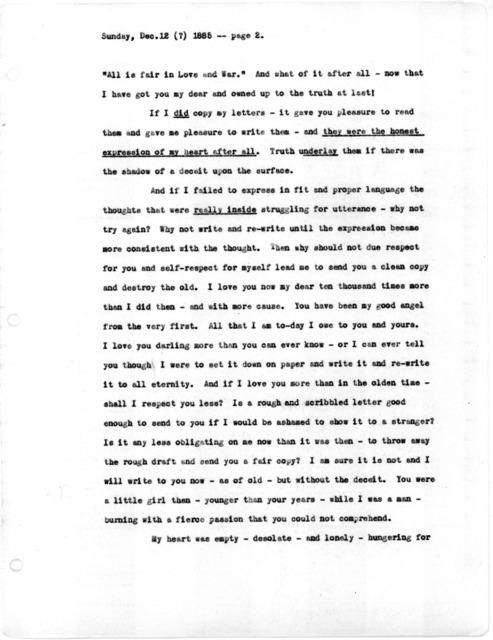 Letter from Alexander Graham Bell to Mabel Hubbard Bell, December 12, 1885