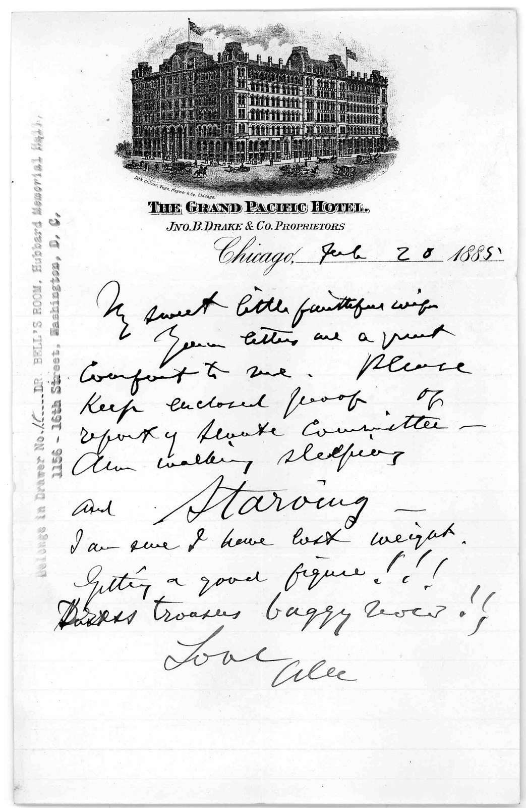 Letter from Alexander Graham Bell to Mabel Hubbard Bell, February 20, 1885