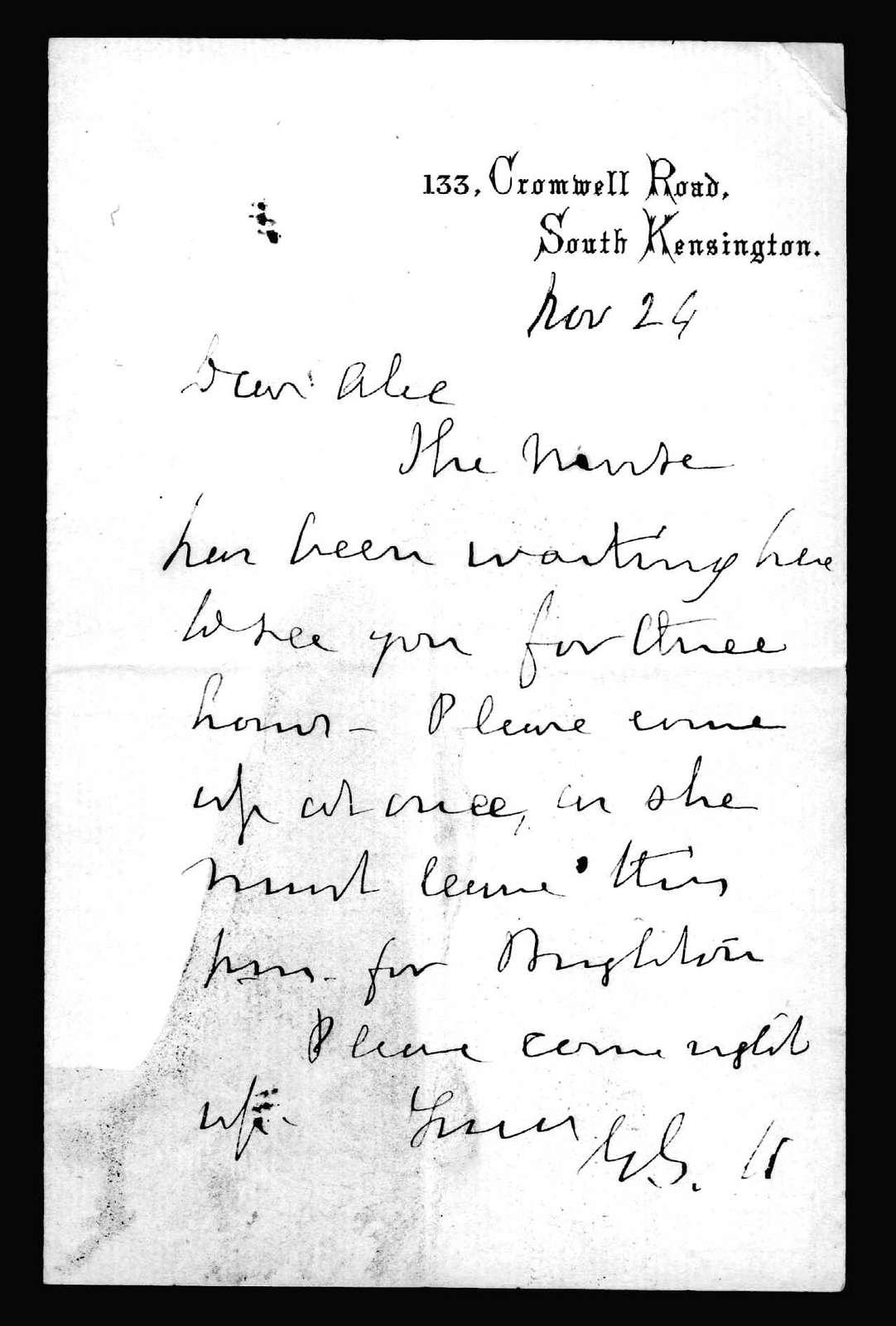 Letter from Gardiner Greene Hubbard to Alexander Graham Bell, November 24