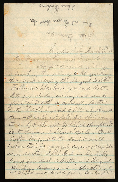 Letter from Giles S. Thomas and Clara B. Thomas to Thomas Family, March 22, 1885