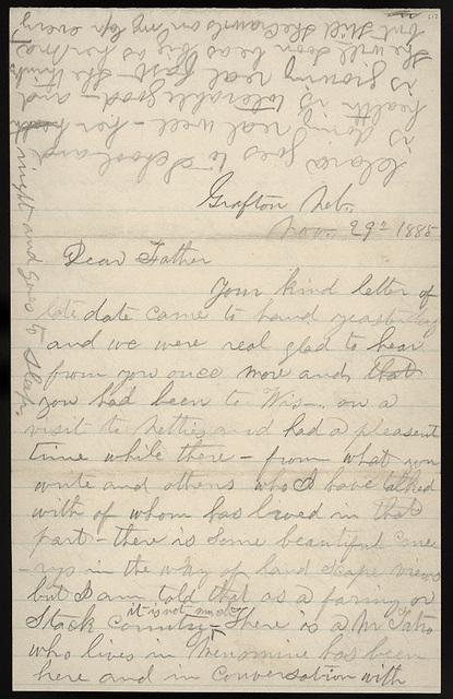 Letter from Giles S. Thomas to W. P. Thomas, November 29, 1885