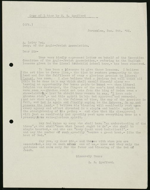 Letter from Horatio Gates Spafford to A. Loivy [Rev. Dr. A. Löwry], Secretary, Anglo-Jewish Association