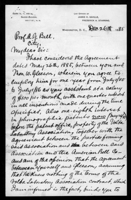 Letter from James H. Saville to Alexander Graham Bell, December 26, 1885