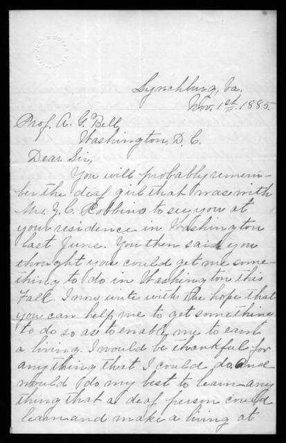 Letter from Laura C. Hobson to Alexander Graham Bell, November 1, 1885