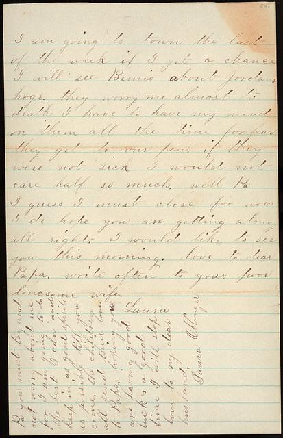 Letter from Laura I. Oblinger to Uriah W. Oblinger, September 23, 1885