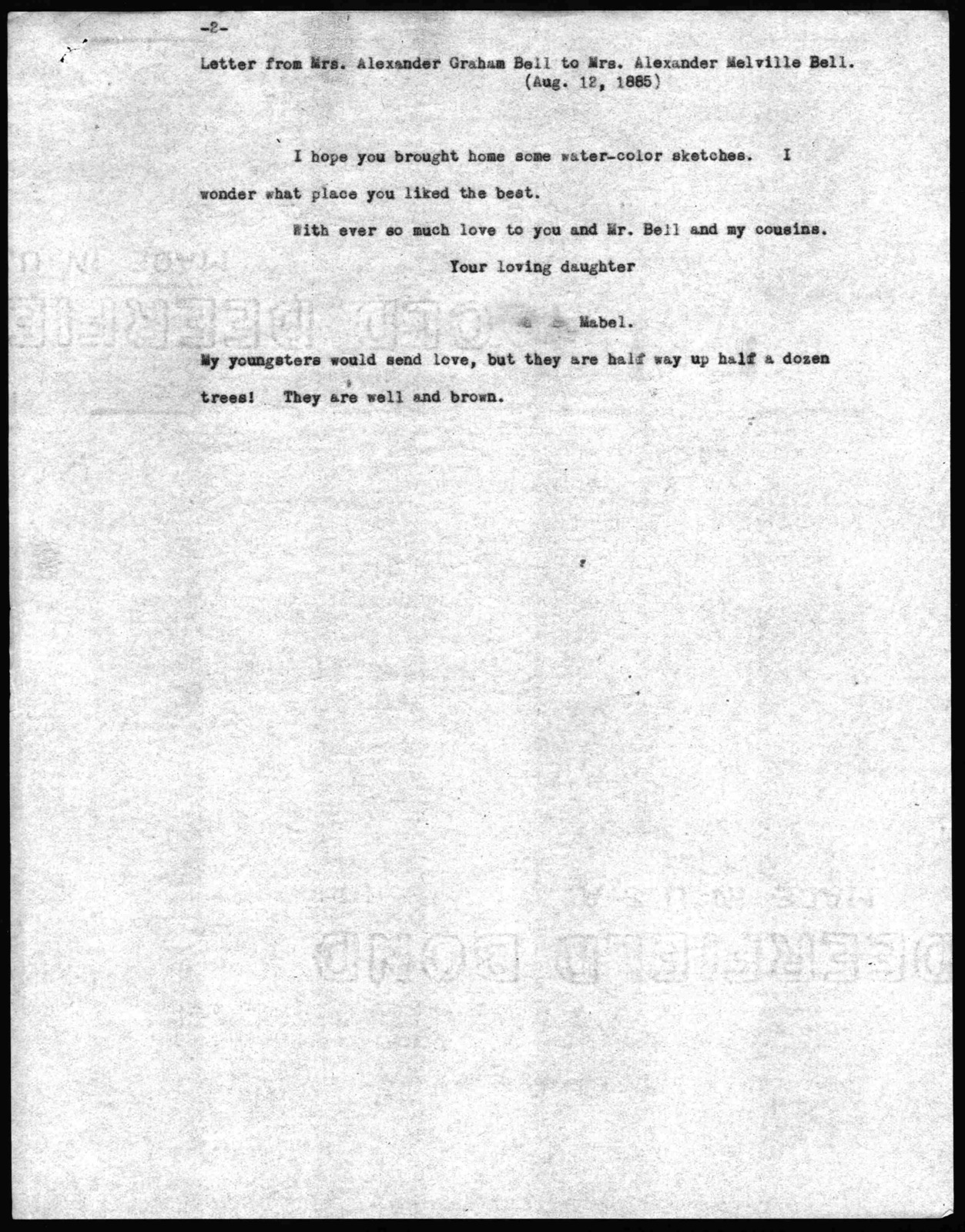 Letter from Mabel Hubbard Bell to Eliza Symonds Bell, August 12, 1885