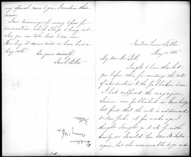 Letter from Sarah Fuller to Alexander Graham Bell, May 12, 1885